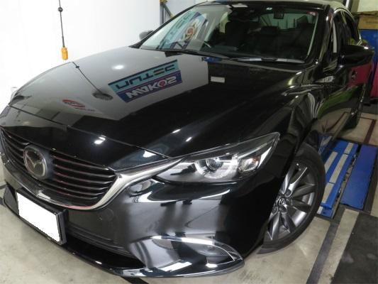 マツダ アテンザ スカイアクティブD 煤除去作業。 DSCドライアイスショットカーボンクリーニングは最短日帰り対応可能。 エンジン警告灯点灯放置は要注意!!