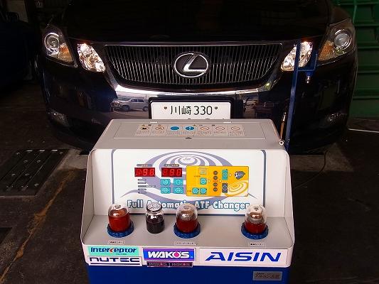 レクサス GS350     専用アタッチメント装着 で 完全圧送式ATF交換~。
